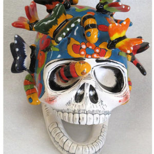 Ceramic Butterfly Skull