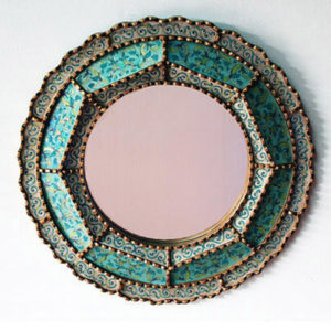 Reverse Hand Painted Mirror - Colonial Round (Turquoise)