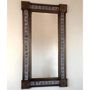 Tile Mirror - Blue and White
