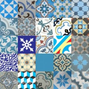Encaustic Cement Tile Patchwork – Blue