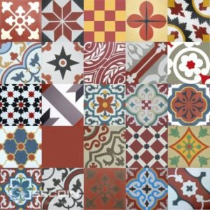 Encaustic Cement Tile Patchwork – Red