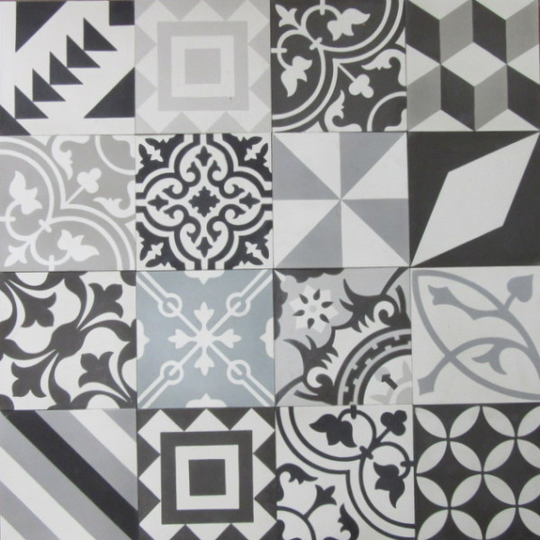 Encaustic Cement Tile Patchwork Black And White Hadeda