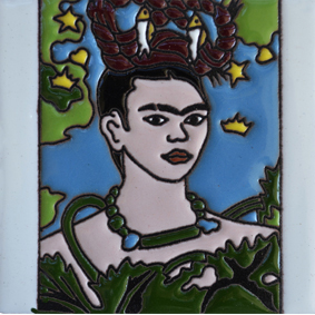 Mexican Talavera Relief Tile - FRIDA-C