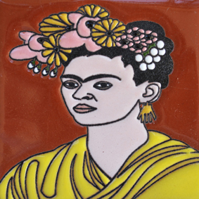 Mexican Talavera Relief Tile - FRIDA-E