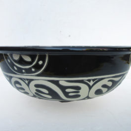 Ceramic Basin Round Black & White A - Large