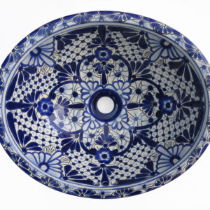 Ceramic Basin Oval Small - A (Blue & White)