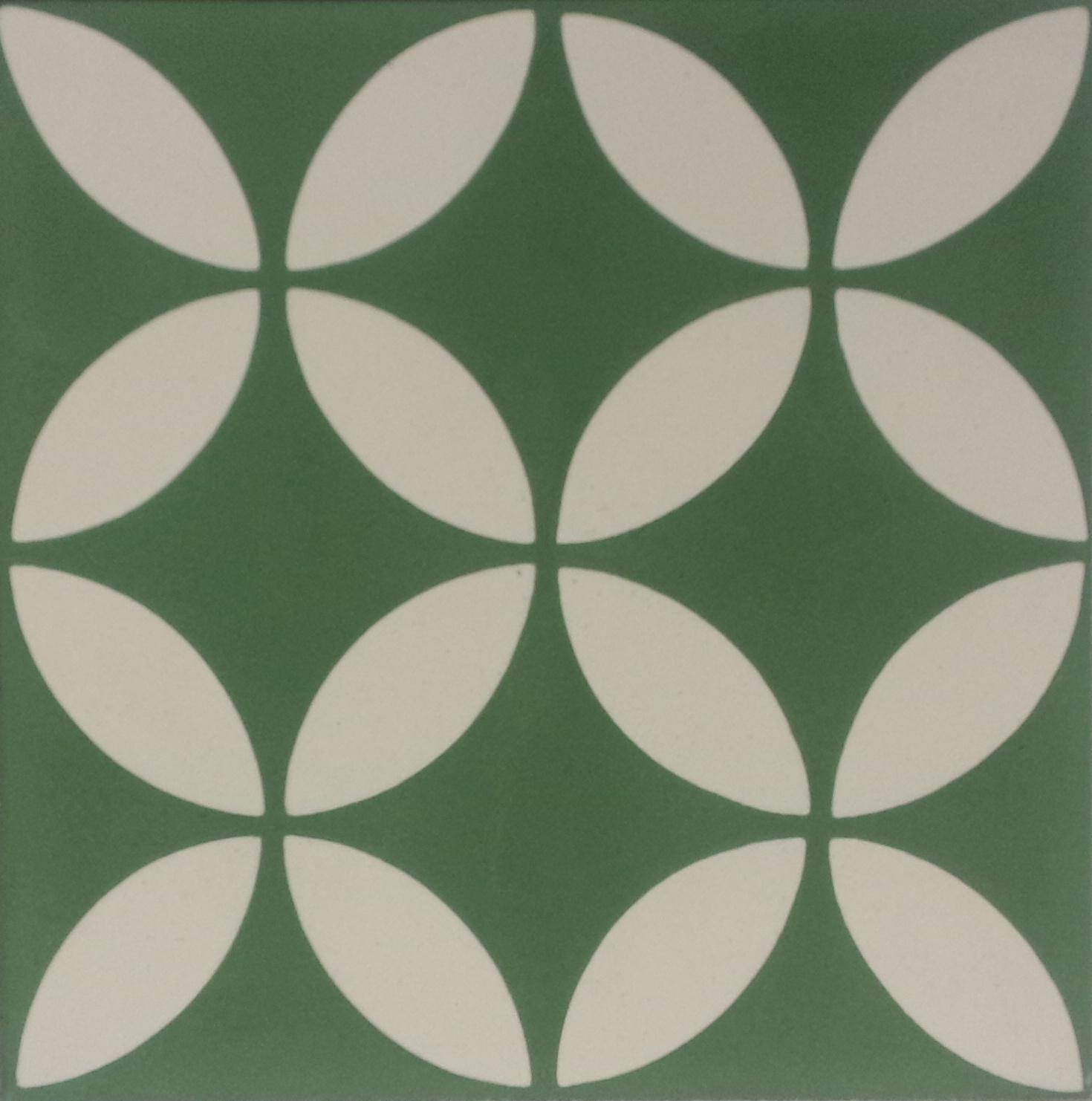 Encaustic Cement Tile A199 Green Hadeda Tiles