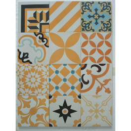 Encaustic Cement Tile - Yellow Patchwork