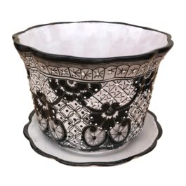 Ceramic Talavera Flower Pot with Base