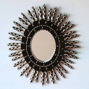 Handcrafted Gilded Mirror - Black and Silver