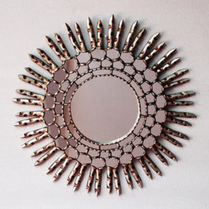 Handcrafted Gilded Mirror - Silver Round