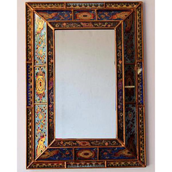 reverse hand painted mirror colonial hadeda tiles