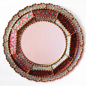Reverse Hand Painted Mirror - Colonial Round (Red)