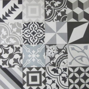 Encaustic Cement Tile Patchwork - Black and White