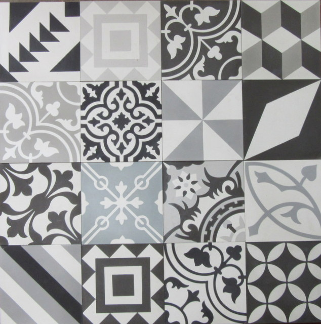 Encaustic Cement Tile Patchwork Black And White