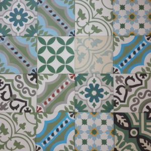 Encaustic Cement Tile Patchwork – Green