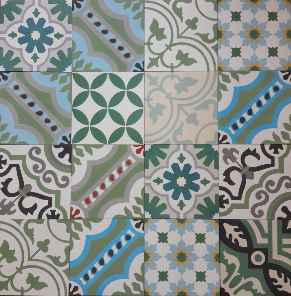 Encaustic Cement Tile Patchwork Green