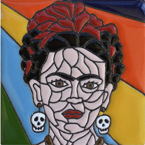 Mexican Talavera Relief Tile - FRIDA-A