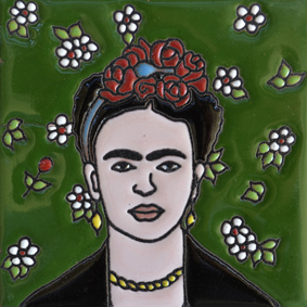 Mexican Talavera Relief Tile - FRIDA-B