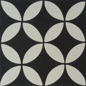 Encaustic Cement Tile A119-A (Black & White)