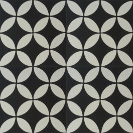 Encaustic Cement Tile A119-A (Black & White)