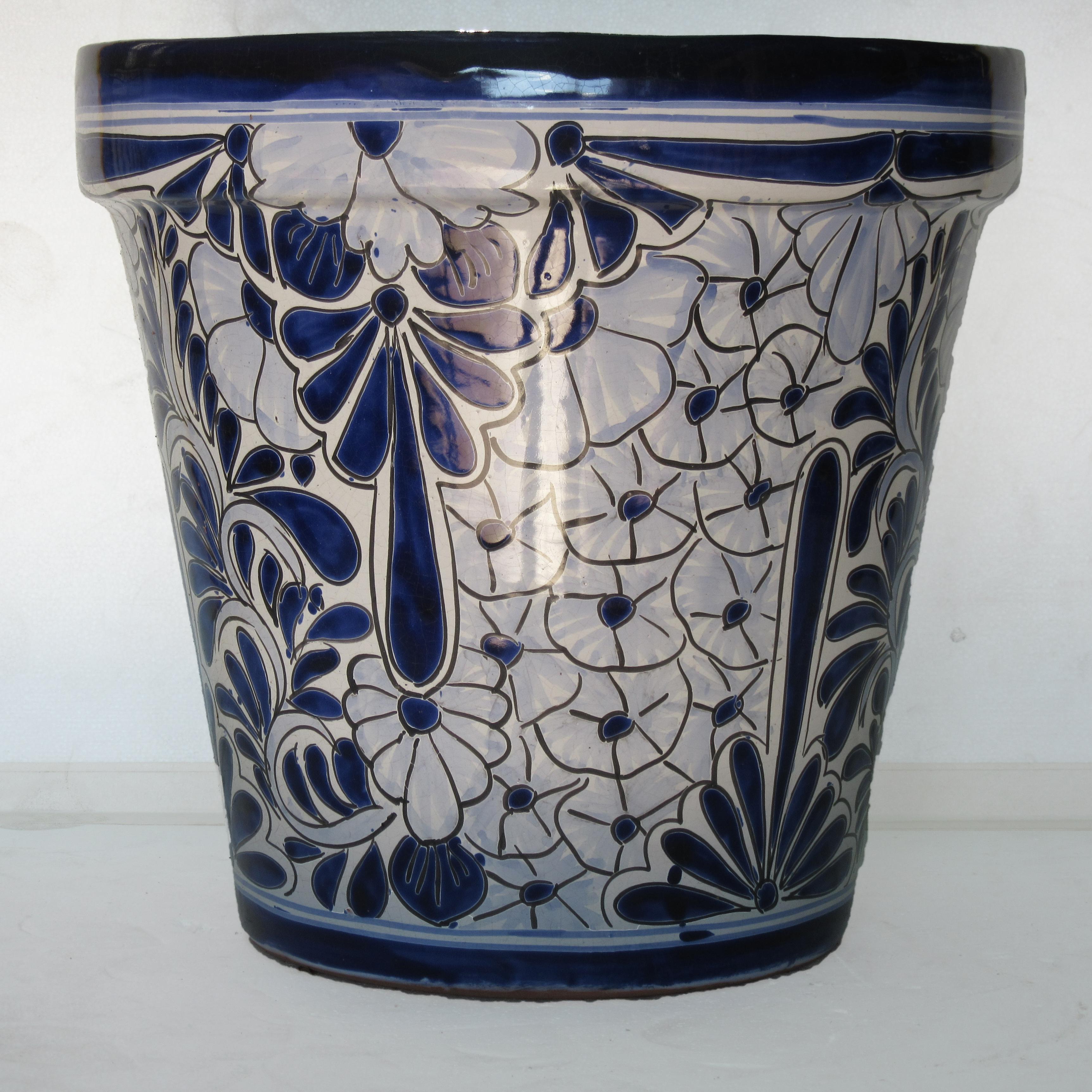 Ceramic Flower Pot 40cm Blue White