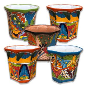 Ceramic Talavera Octagonal Flower Pot- Multi