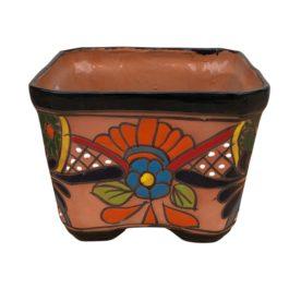 Ceramic Talavera Square Flower Pot - Multi