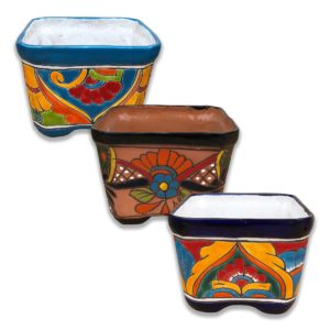 Ceramic Talavera Square Flower Pot - Multi