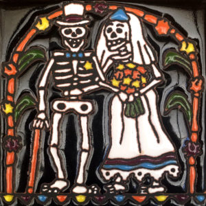 Mexican Talavera Relief Tile -TILL DEATH US DO PART